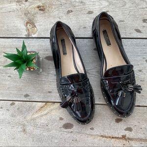 Zara Black Patent Tassel Loafers